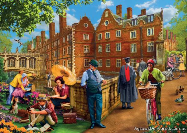 Afternoon in Cambridge (JUM11129), a 1000 piece jigsaw puzzle by Jumbo.