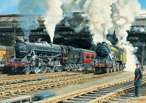Full Steam Ahead (JUM11120), a 500 piece jigsaw puzzle by Jumbo. Click to view larger image.