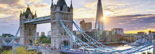 Tower Bridge, London (Panoramic) (JUM18573), a 1000 piece jigsaw puzzle by Jumbo. Click to view larger image.
