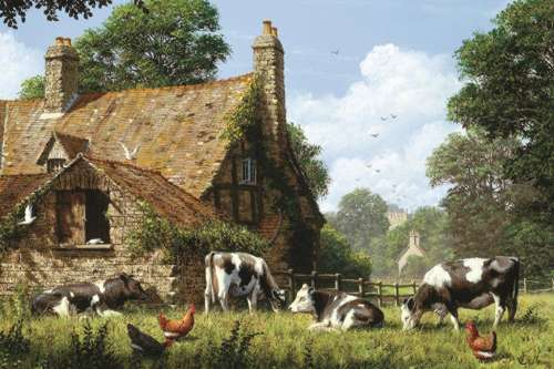 Cows at the Farm (JUM18579), a 1500 piece jigsaw puzzle by Jumbo. Click to view larger image.