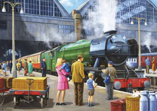 The Flying Scotsman at King's Cross (JUM11160), a 1000 piece jigsaw puzzle by Jumbo. Click to view larger image.