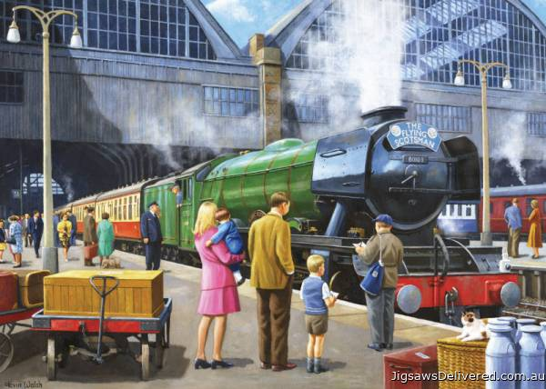 The Flying Scotsman at King's Cross (JUM11160), a 1000 piece jigsaw puzzle by Jumbo.