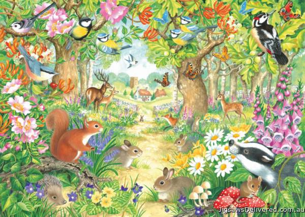 A Woodland Trail (JUM11155), a 1000 piece jigsaw puzzle by Jumbo.