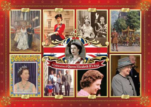 Queen Elizabeth II's Reign (JUM11085), a 1000 piece jigsaw puzzle by Jumbo. Click to view larger image.