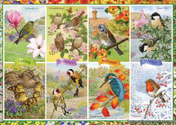 Seasonal Garden Birds (JUM11157), a 1000 piece jigsaw puzzle by Jumbo.