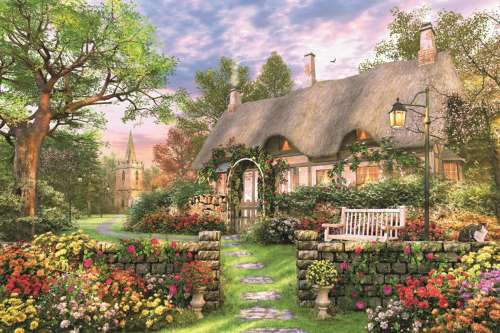 Sunny Cottage (JUM18367), a 1500 piece jigsaw puzzle by Jumbo. Click to view larger image.