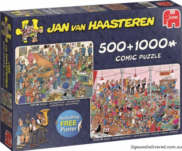 Let's Party (Twin pack 1000pc and 500pc) (JUM19058), a 1000 piece jigsaw puzzle by Jumbo.