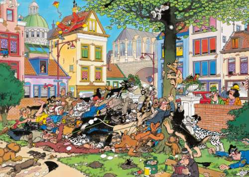 Get That Cat! (JUM19056), a 1000 piece jigsaw puzzle by Jumbo. Click to view larger image.