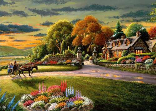 Lakeside Cottage (A Safe Haven) (HOL098521), a 1000 piece jigsaw puzzle by Holdson. Click to view larger image.