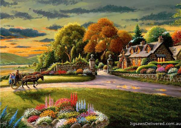 Lakeside Cottage (A Safe Haven) (HOL098521), a 1000 piece jigsaw puzzle by Holdson.