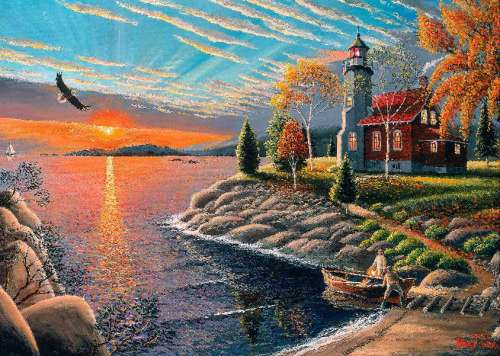 Lighthouse Sunset (A Safe Haven) (HOL098538), a 1000 piece jigsaw puzzle by Holdson. Click to view larger image.
