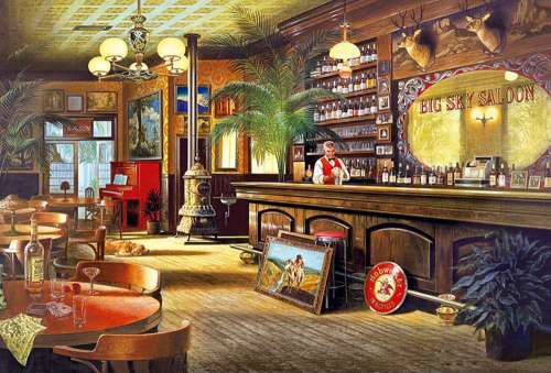 Big Sky Saloon (EDU16357), a 6000 piece jigsaw puzzle by Educa. Click to view larger image.
