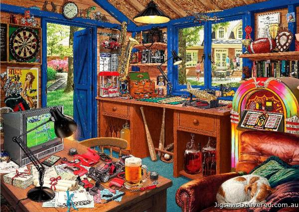 Man Cave (Large Pieces) (HOL098620), a 500 piece jigsaw puzzle by Holdson.