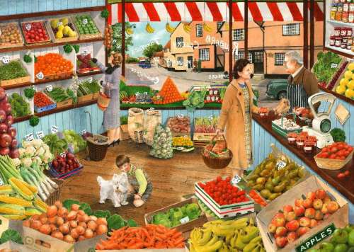 The Green Grocer (Times Past) (HOL098460), a 1000 piece jigsaw puzzle by Holdson. Click to view larger image.