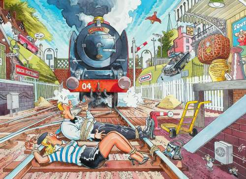 The Wasgij Express (Mystery Wasgij 1) (JUM19145), a 1000 piece jigsaw puzzle by Jumbo. Click to view larger image.