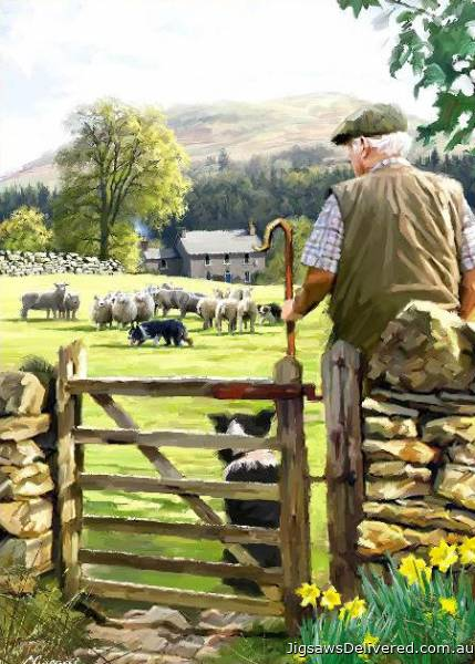 Bringing in The Flock (Country Life) (HOL099009), a 1000 piece jigsaw puzzle by Holdson.