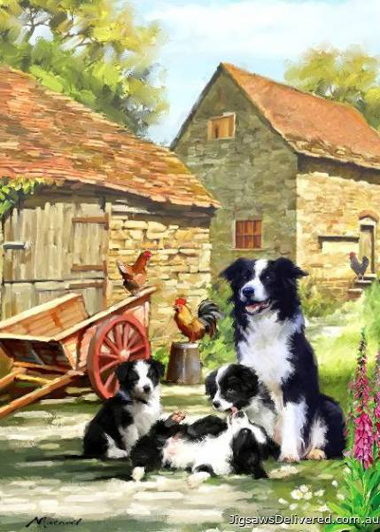 Farmhouse Collies (Country Life) (HOL099016), a 1000 piece jigsaw puzzle by Holdson.