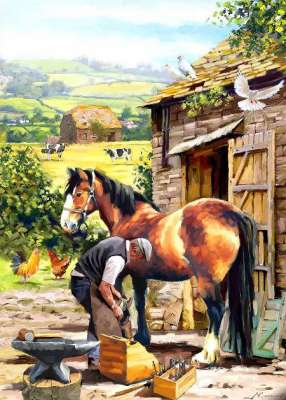 The Farrier (Country Life) (HOL099023), a 1000 piece jigsaw puzzle by Holdson. Click to view larger image.