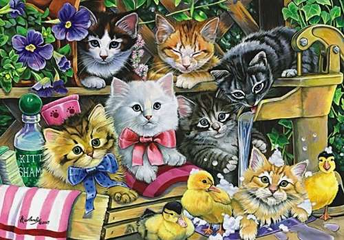 Bathtime Kittens (ANA3282), a 260 piece jigsaw puzzle by Anatolian. Click to view larger image.