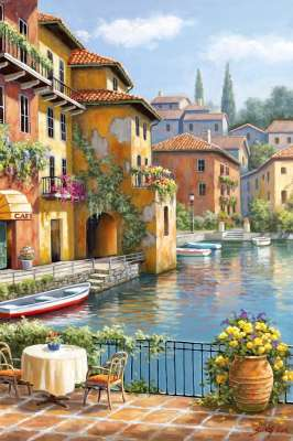 Cafe at the Canal (ANA3294), a 260 piece jigsaw puzzle by Anatolian. Click to view larger image.