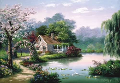 Arbor Cottage (ANA3304), a 260 piece jigsaw puzzle by Anatolian. Click to view larger image.