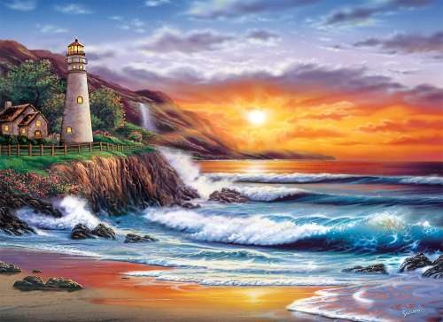 Lighthouse Sunset (CLE 39368), a 1000 piece jigsaw puzzle by Clementoni. Click to view larger image.