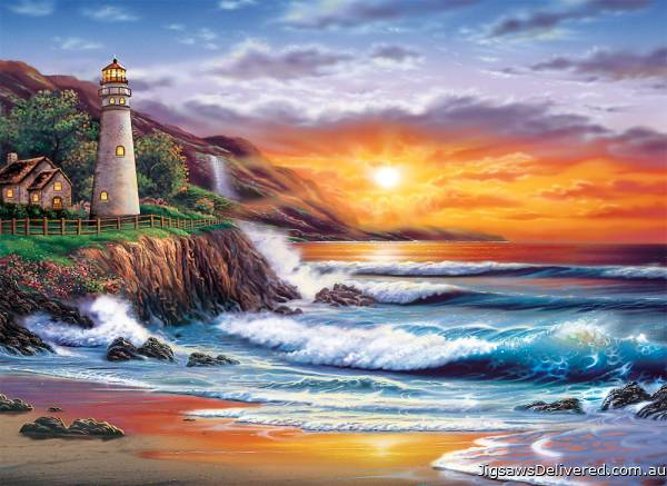 Lighthouse Sunset (CLE 39368), a 1000 piece jigsaw puzzle by Clementoni.