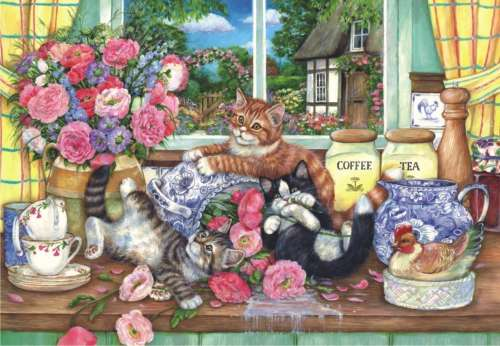 Kittens in the Kitchen (ANA3574), a 500 piece jigsaw puzzle by Anatolian. Click to view larger image.