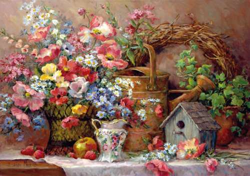 Garden Medley (ANA4502), a 1500 piece jigsaw puzzle by Anatolian. Click to view larger image.