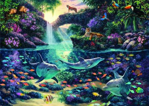 Jungle Paradise (ANA4908), a 3000 piece jigsaw puzzle by Anatolian. Click to view larger image.
