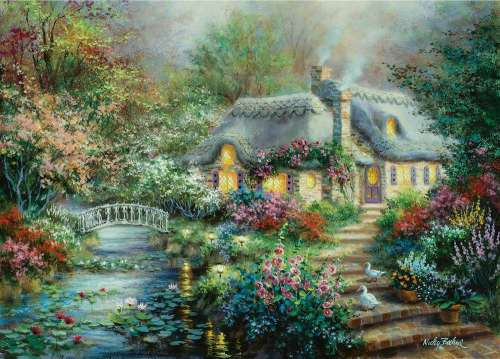 Little River Cottage (Large Pieces) (SUN19152), a 1000 piece jigsaw puzzle by Sunsout. Click to view larger image.