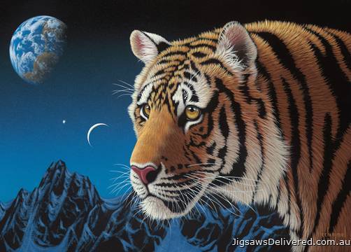 Tiger Night (Wild at Heart) (HOL098705), a 1000 piece jigsaw puzzle by Holdson.