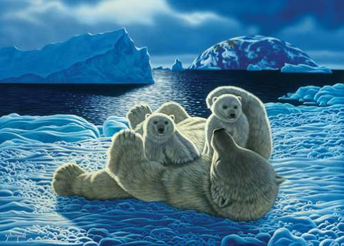 Polar Bears (Wild at Heart) (HOL098712), a 1000 piece jigsaw puzzle by Holdson. Click to view larger image.