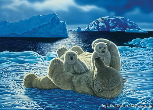 Polar Bears (Wild at Heart) (HOL098712), a 1000 piece jigsaw puzzle by Holdson.