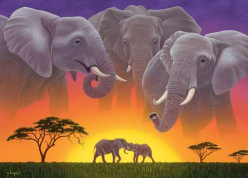 Elephants (Wild at Heart) (HOL098682), a 1000 piece jigsaw puzzle by Holdson. Click to view larger image.