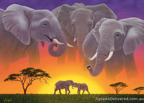 Elephants (Wild at Heart) (HOL098682), a 1000 piece jigsaw puzzle by Holdson.