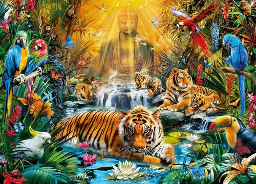 Mystic Tigers (CLE 39380), a 1000 piece jigsaw puzzle by Clementoni. Click to view larger image.