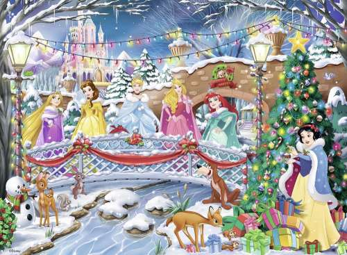 Disney Princess Christmas (RB14778-6), a 500 piece jigsaw puzzle by Ravensburger. Click to view larger image.