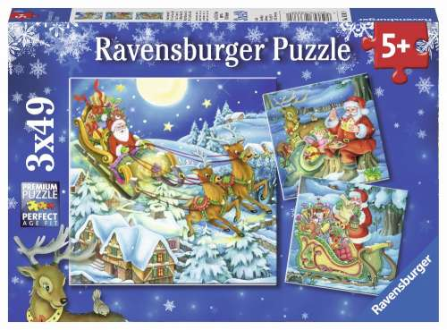 Christmas Magic (3 x 49pc) (RB08032-8), a 49 piece jigsaw puzzle by Ravensburger. Click to view larger image.