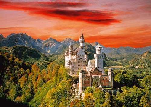 Neuschwanstein Castle (TRE27050), a 2000 piece jigsaw puzzle by Trefl. Click to view larger image.