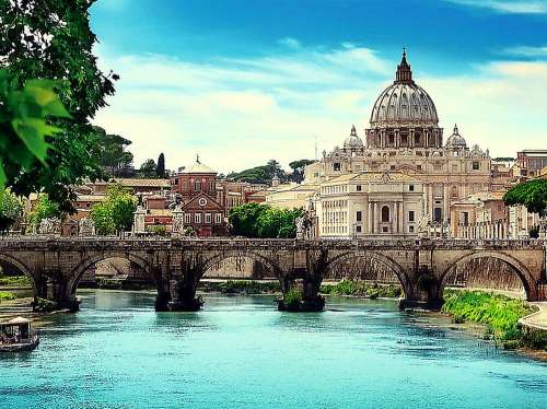 Holy Angel Bridge, Rome (TRE10449), a 1000 piece jigsaw puzzle by Trefl. Click to view larger image.