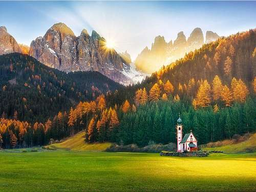 Church in the Dolomites (TRE26134), a 1500 piece jigsaw puzzle by Trefl. Click to view larger image.