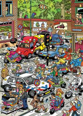 Scooter Scramble (HOL099054), a 1000 piece jigsaw puzzle by Holdson. Click to view larger image.