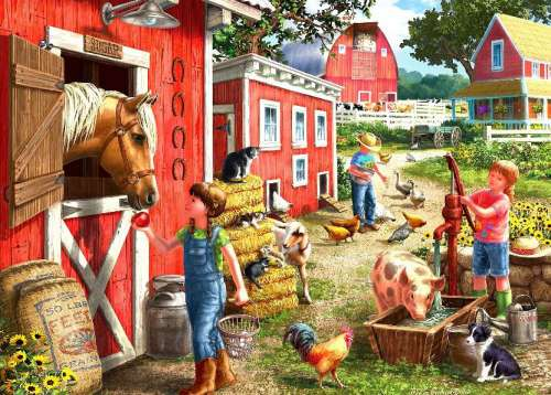 Farmhouse (Large Pieces) (HOL098774), a 500 piece jigsaw puzzle by Holdson. Click to view larger image.