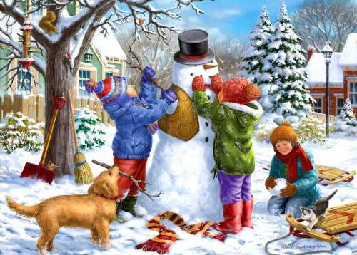 Snowman (Large Pieces) (HOL098798), a 500 piece jigsaw puzzle by Holdson. Click to view larger image.
