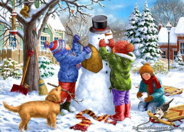 Snowman (Large Pieces) (HOL098798), a 500 piece jigsaw puzzle by Holdson.