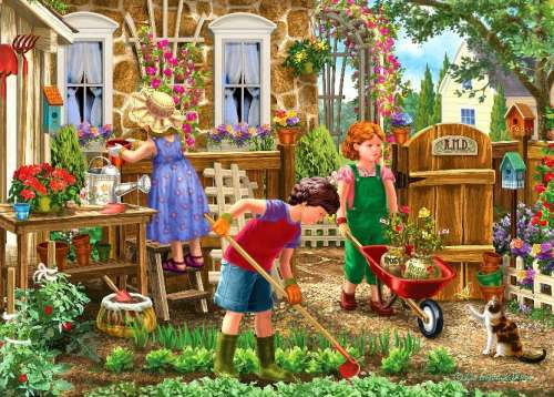 Gardening Fun (Large Pieces) (HOL098781), a 500 piece jigsaw puzzle by Holdson. Click to view larger image.