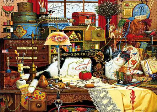 Maggie the Messmaker (HOL098828), a 1000 piece jigsaw puzzle by Holdson. Click to view larger image.