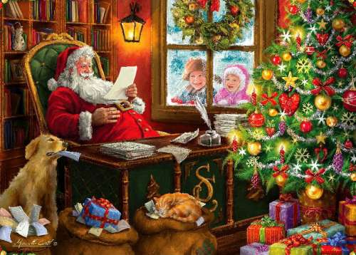 Santa's Mail (HOL098903), a 1000 piece jigsaw puzzle by Holdson. Click to view larger image.