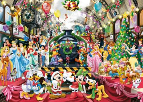 Disney All Aboard for Christmas (RB19553-4), a 1000 piece jigsaw puzzle by Ravensburger. Click to view larger image.
